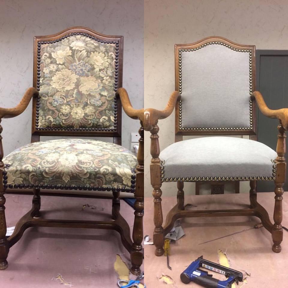 Voor en na herstofferen stoel
